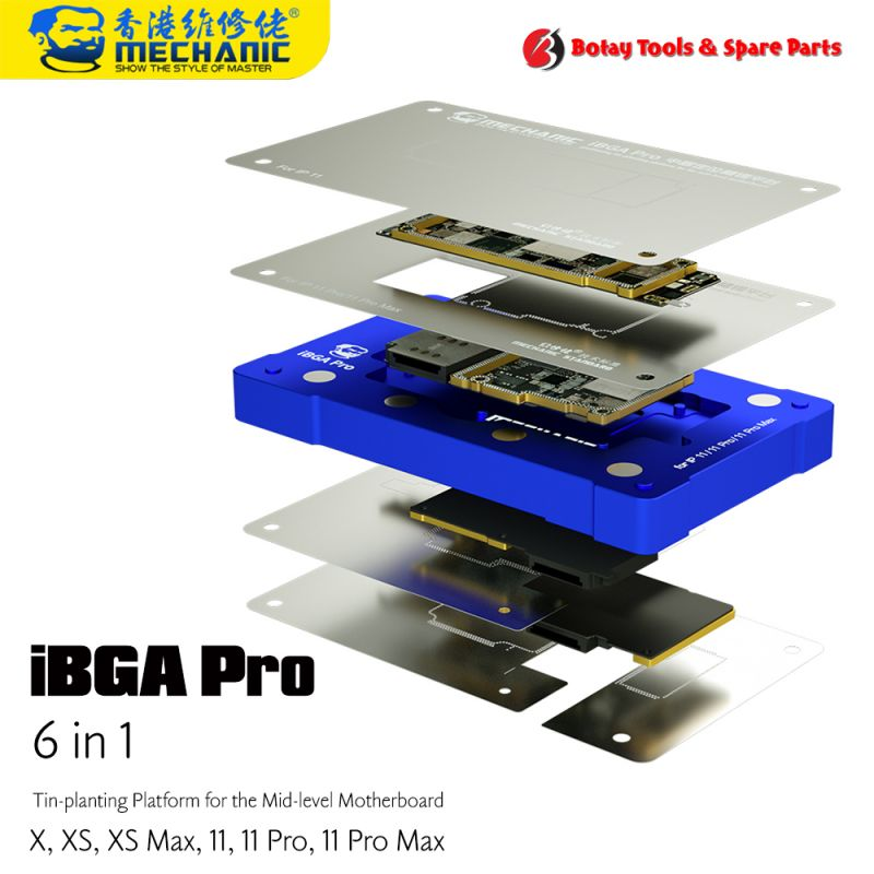 Mechanic iBGA Pro ( 6-in-1 ) Tin-planting Platform for the Mid-level Motherboard for iPhone X-XS-XS Max-11-11 Pro-11 Pro Max