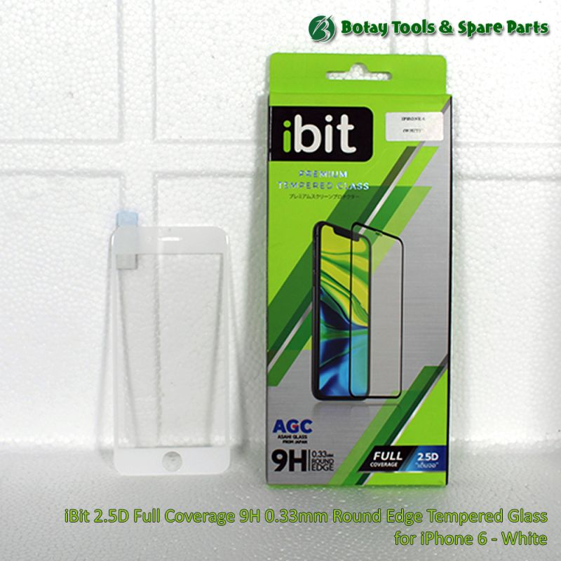 iBit 2.5D Full Coverage 9H 0.33mm Round Edge Tempered Glass for iPhone 6 - White