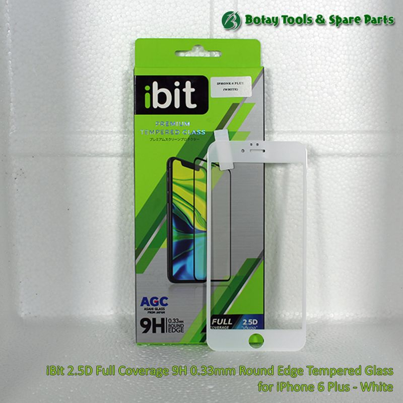 iBit 2.5D Full Coverage 9H 0.33mm Round Edge Tempered Glass for iPhone 6 Plus - White