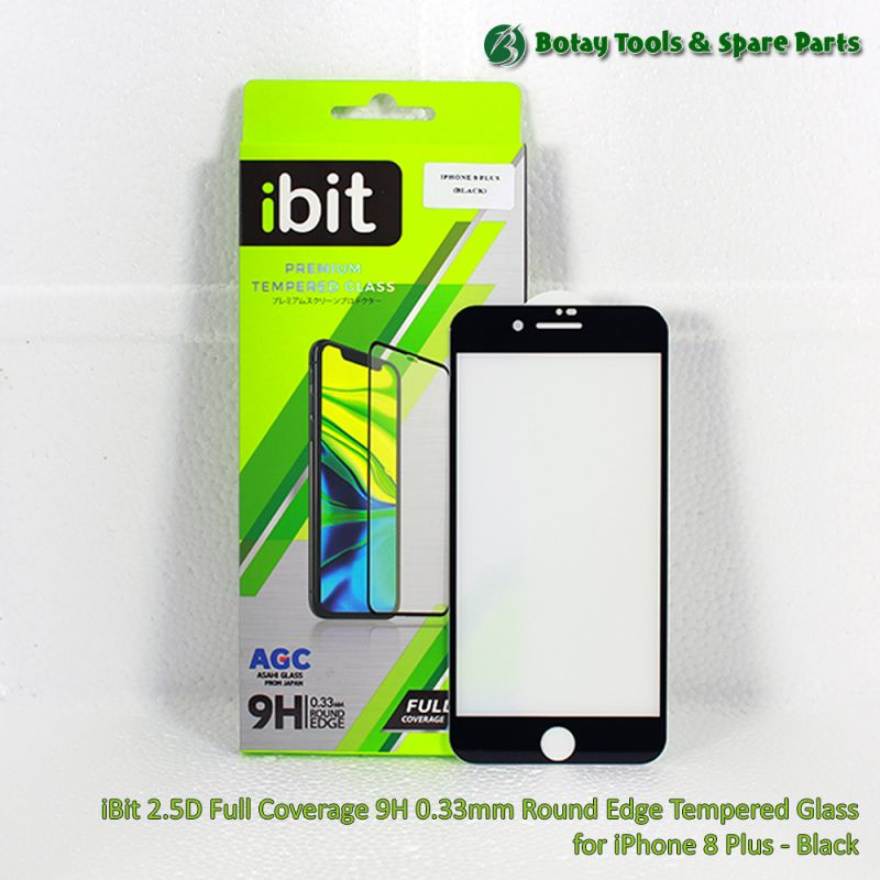 iBit 2.5D Full Coverage 9H 0.33mm Round Edge Tempered Glass for iPhone 8 Plus - Black
