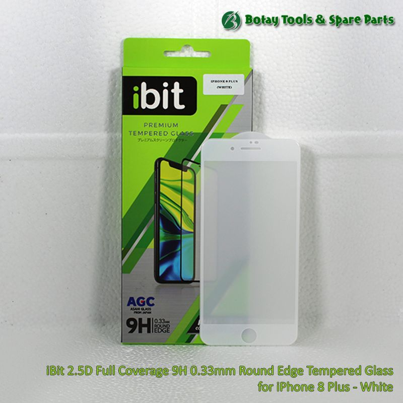 iBit 2.5D Full Coverage 9H 0.33mm Round Edge Tempered Glass for iPhone 8 Plus - White