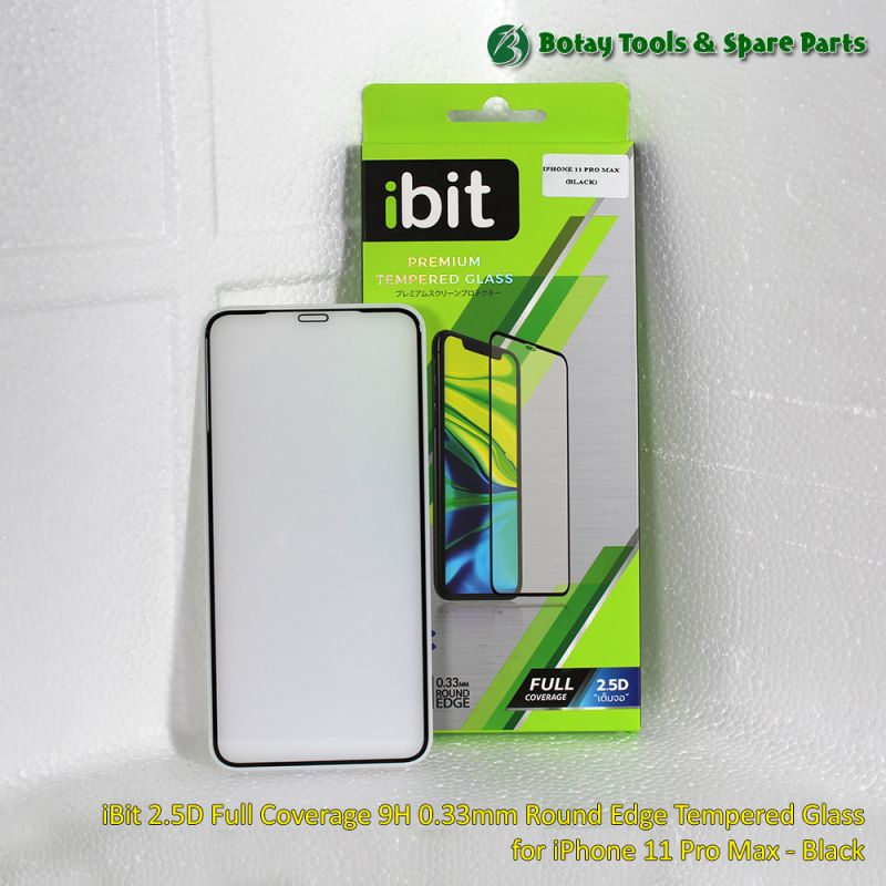 iBit 2.5D Full Coverage 9H 0.33mm Round Edge Tempered Glass for iPhone 11 Pro Max - Black
