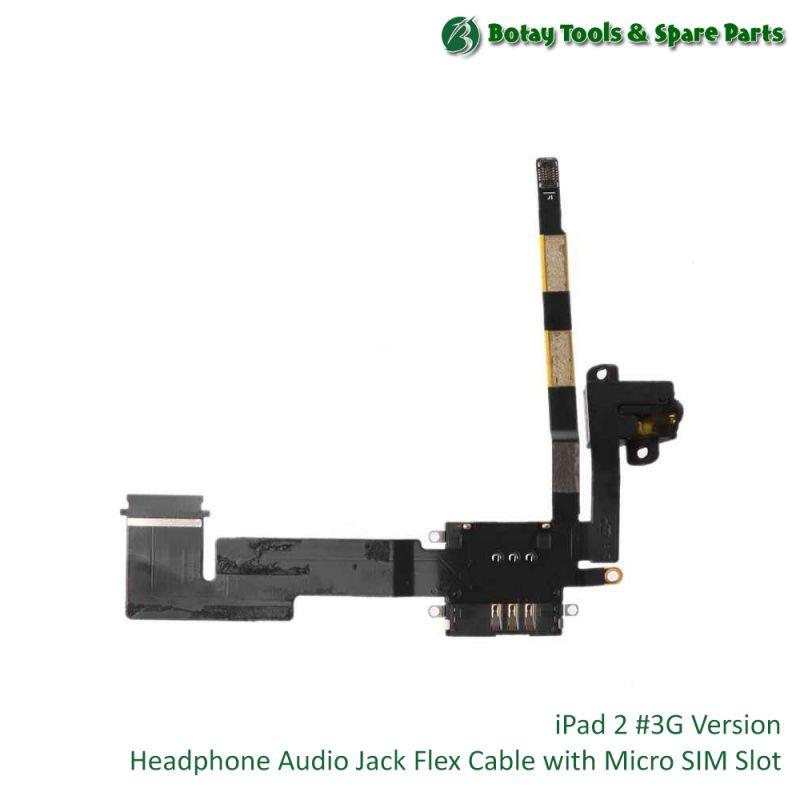 iPad 2 #3G Version - Audio Headphone Jack Flex Cable with Micro SIM Slot #821-1377-A