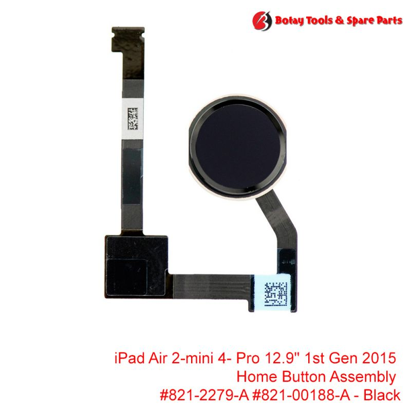 """iPad Air 2- iPad mini 4- iPad Pro 12.9"""" 1st Gen 2015 - Home Button Assembly #821-2279-A #821-00188-A - Black"""