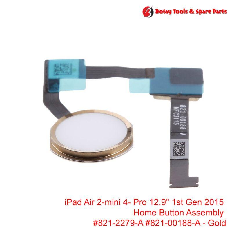 "iPad Air 2- iPad mini 4- iPad Pro 12.9"" 1st Gen 2015 - Home Button Assembly #821-2279-A #821-00188-A - Gold"
