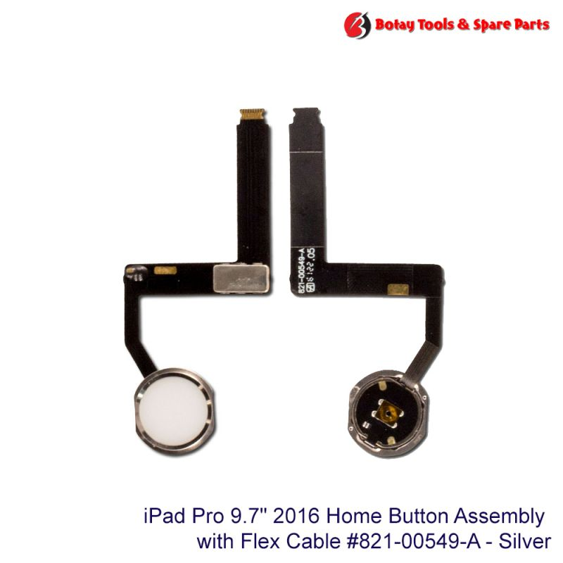 """iPad Pro 9.7"""" 2016 Home Button Assembly #821-00549-A - Silver"""