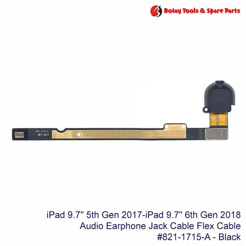 """iPad 9.7"""" 5th Gen 2017- iPad 9.7"""" 6th Gen 2018 - Audio Headphone Jack Flex Cable #821-1715-A - Black"""