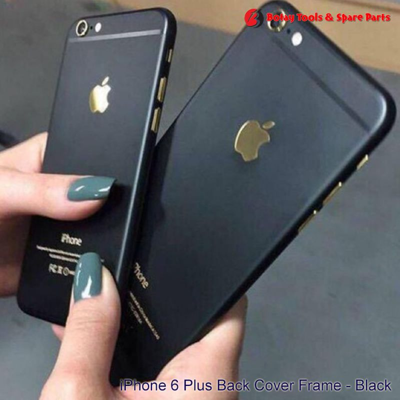iPhone 6 Plus Back Cover Frame Housing with Gold Logo - Black