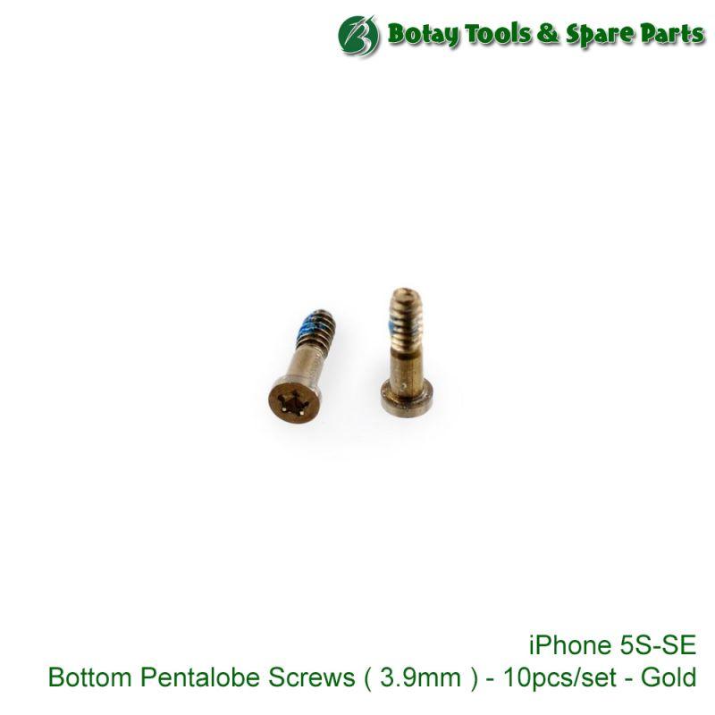 iPhone 5S-SE Bottom Pentalobe Screws ( 3.9mm ) - 10pcs/set - Gold