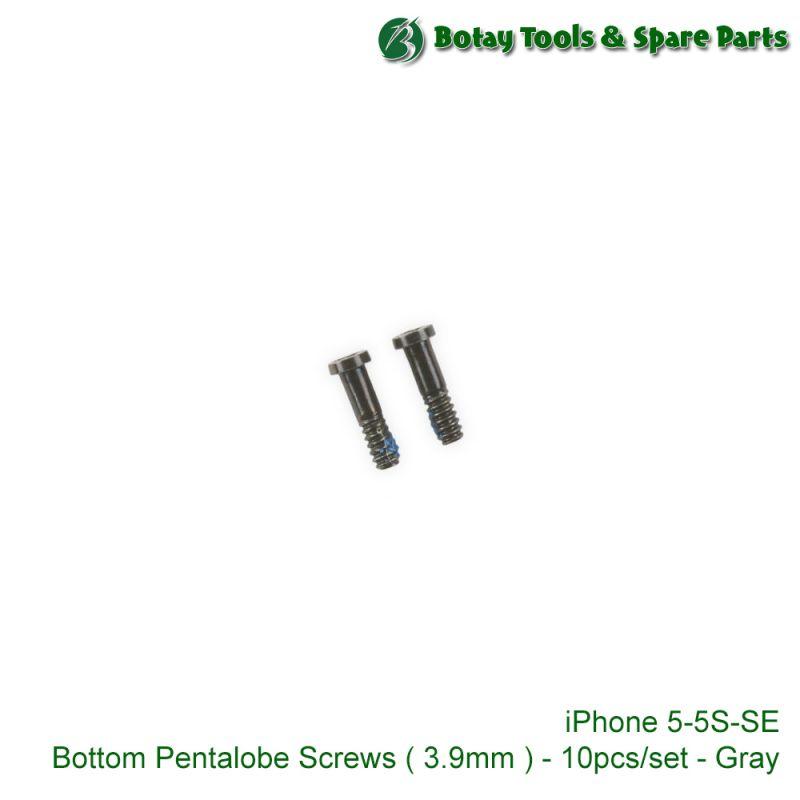 iPhone 5-5S-SE Bottom Pentalobe Screws ( 3.9mm ) - 10pcs/set - Gray