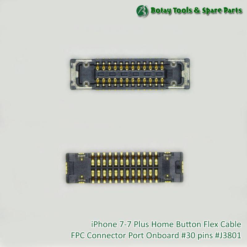 iPhone 7-7 Plus Home Button Flex Cable FPC Connector Port Onboard #30 pins #J3801