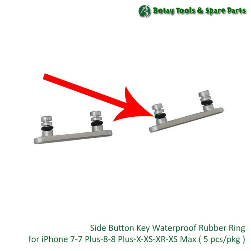 Side Button Key Waterproof Rubber Ring for iPhone 7-7 Plus-8-8 Plus-X-XS-XR-XS Max ( 5 pcs/pkg )