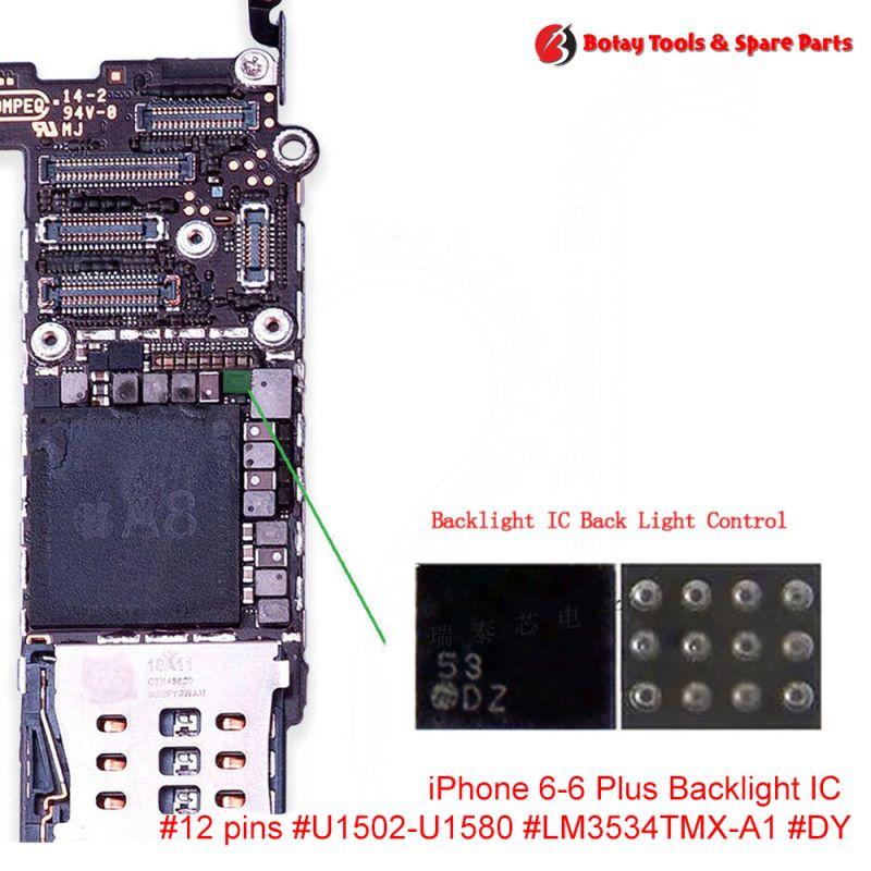 iPhone 6-6 Plus Backlight IC #12 pins #U1502-U1580 #LM3534TMX-A1 #DY