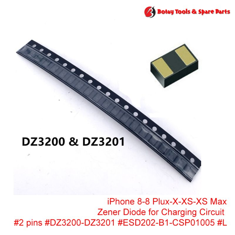 iPhone 8-8 Plux-X-XS-XS Max-XR Zener Diode for Charging Circuit #2 pins #DZ3200-DZ3201 #ESD202-B1-CSP01005 #L