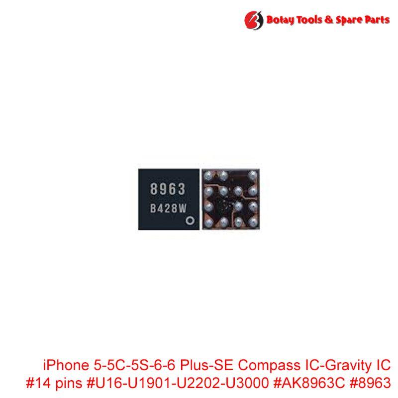 iPhone 5-5C-5S-6-6 Plus-SE Compass IC-Gravity IC #14 pins #U16-U1901-U2202-U3000 #AK8963C #8963