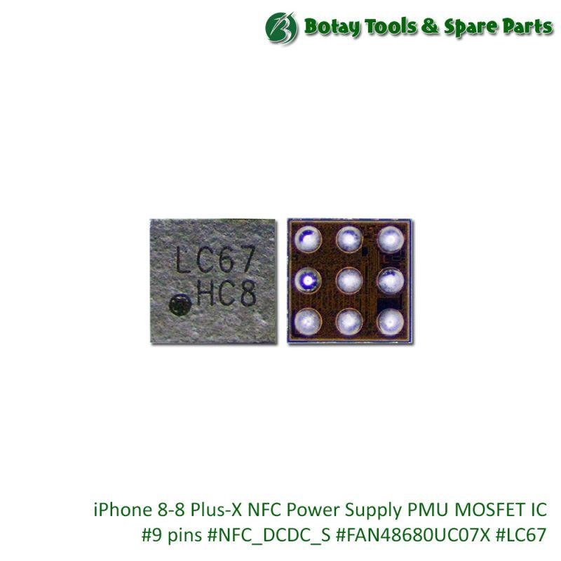 iPhone 8-8 Plus-X NFC Power Supply PMU MOSFET IC #9 pins #NFC_DCDC_S #FAN48680UC07X #LC67