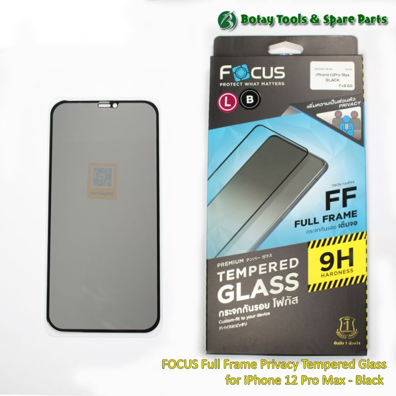 FOCUS Full Frame Privacy Tempered Glass for iPhone 12 Pro Max - Black