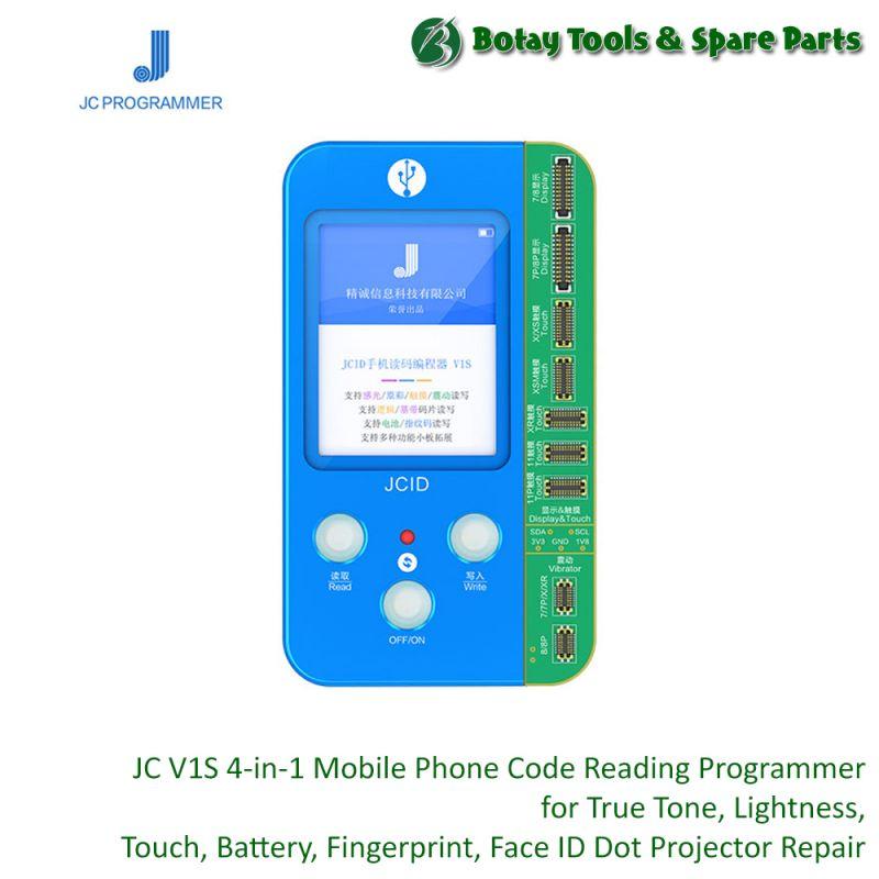 JC V1S ( 4-in-1 ) Mobile Phone Code Reading Programmer for True Tone-Lightness-Touch-Battery-Fingerprint-Face ID Dot Projector Repair