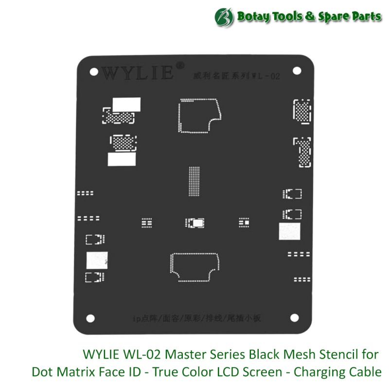 WYLIE WL-02 Master Series Black Mesh Stencil for Dot Matrix Face ID - True Color LCD Screen - Charging Cable