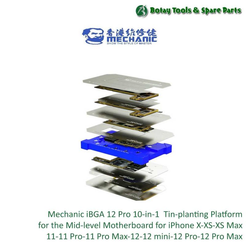 Mechanic iBGA 12 Pro ( 10-in-1 )  Tin-planting Platform for the Mid-level Motherboard for iPhone X-XS-XS Max-11-11 Pro-11 Pro Max-12-12 mini-12 Pro-12 Pro Max
