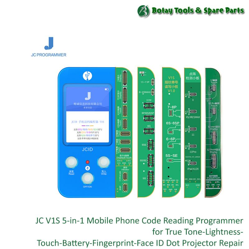 JC V1S ( 5-in-1 )  Mobile Phone Code Reading Programmer for True Tone-Lightness-Touch-Battery-Fingerprint-Face ID Dot Projector Repair